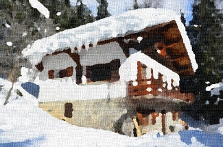 Picture of the Génépi chalet in winter with oil painting effect